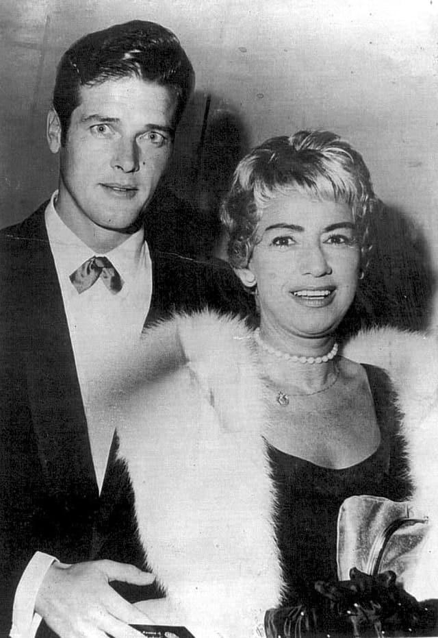Roger Moore mit seiner zweiten Frau Dorothy Squires