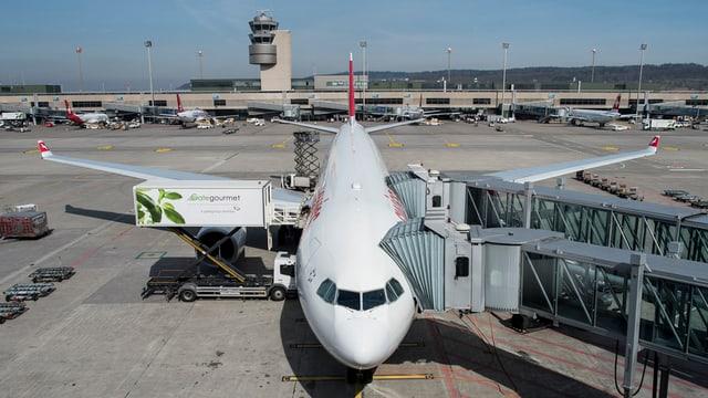 Swissair-Flugzeug von vorne an einem Gate auf dem Flughafen Zürich