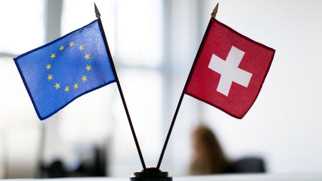 Fahnen der EU und der Schweiz auf einem Tisch