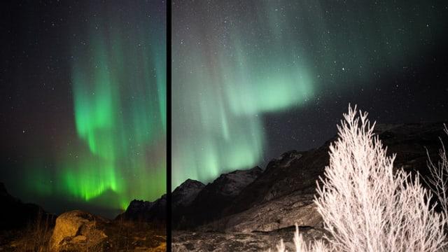 Zweigeteiltes Bild eines Polarlichts: auf der linken Seite mit kräftigeren, auf der rechten mit blassen Farben