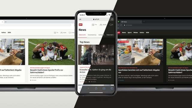 Notebook und Smartphone zeigen SRF.ch im Light und Dark Mode