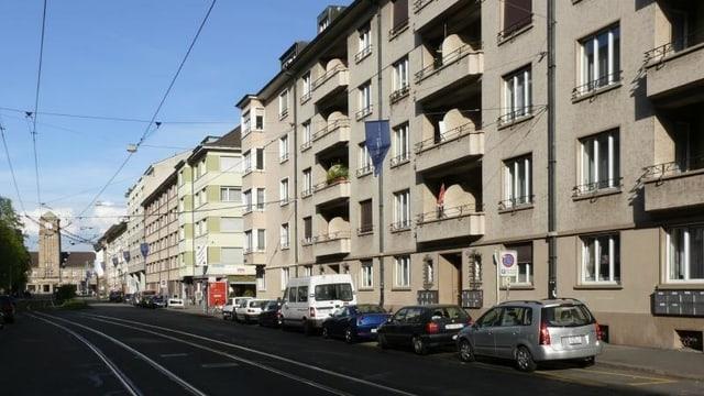Blick in die Rosentalstrasse zum Badischen Bahnhof.