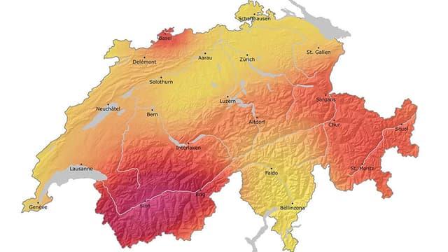 Karte der Schweiz, besonders gefährdete Gebiete rötlicher, weniger gefährdete gelblich.