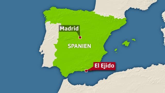 Eine Karte Spaniens. Eingezeichnet sind die Hauptstadt Madrid, ungefähr in der Mitte des Landes, sowie die Stadt El Ejido ganz im Süden an der Küste.