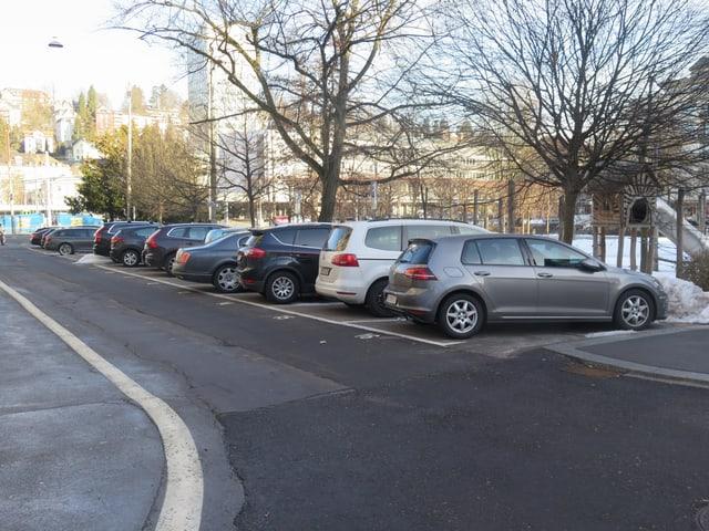 Parkplätze mit Autos