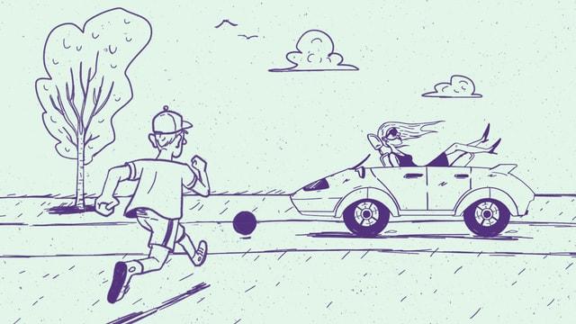 Zeichnung: Kind läuft hinter Ball auf Strasse und selbstfahrendes Auto nähert sich. Darin sitzt eine Mitfahrerin.