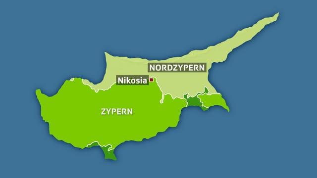 Karte Zyperns mit den Grenzen