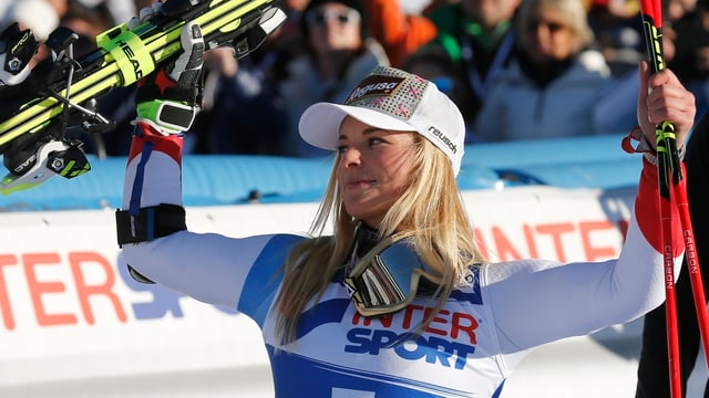 Lara Gut ch'è vegnida terza en il slalom gigant a Sestriere.