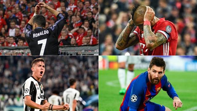 Ronaldo, Vidal, Messi und Dybala (im Uhrzeigersinn).