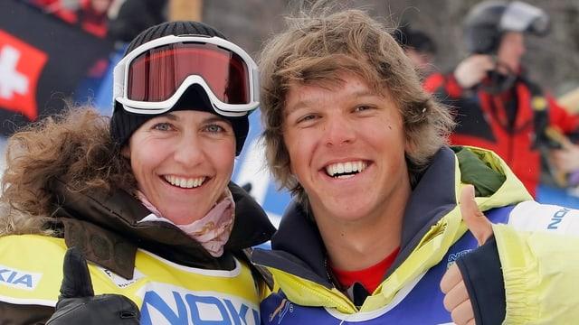 Manuela Pesko (links) wurde in 2007 Weltmeisterin in der Halfpipe, Junioren-Weltmeister Daniel Friberg trat früh zurück.