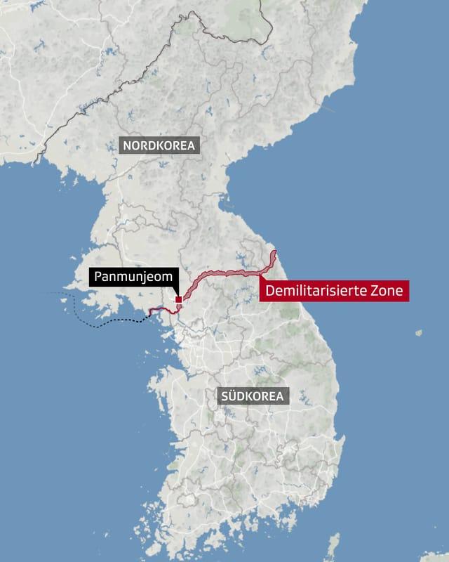 Karte mit der demilitarisierten Zone zwischen Nord- und Südkorea.