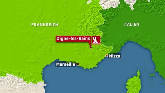 Karte zeigt Teile Südfrankreichs und Norditaliens