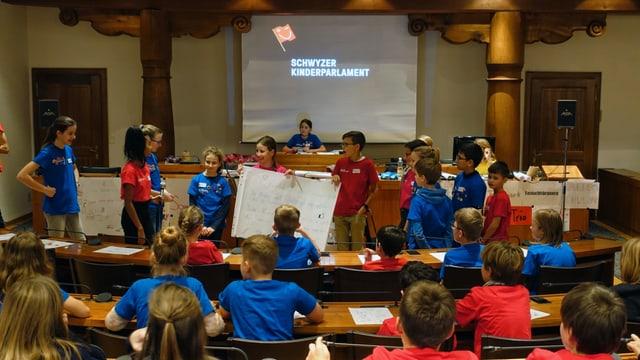 Kinder in den 3 Kinderparlamenten am diskutieren und abstimmen