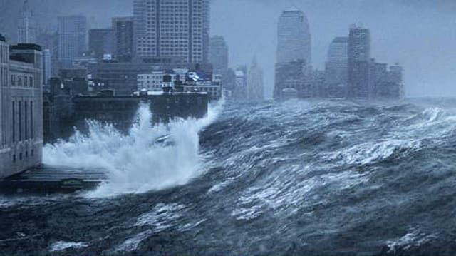 Eine riesige Flutwelle bricht über New York hinein.
