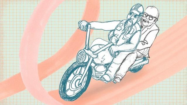 Zeichnung: Dürrenmatt auf dem Rücksitz eines Motorrades, das von einem Rocker gelenkt wird.