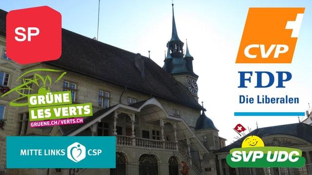 Das Rathaus Freiburg mit den Logos der Parteien.