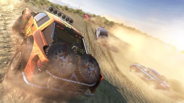 Autos liefern sich ein Rennen auf einer Sandbahn.