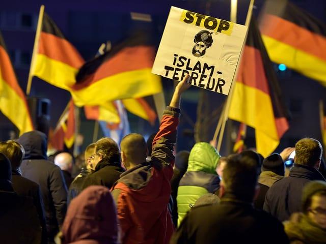Rückenansicht eines Mannes, der ein Transparent mit der Aufschrift «Stop Islam Terreur» in die Höhe hält.