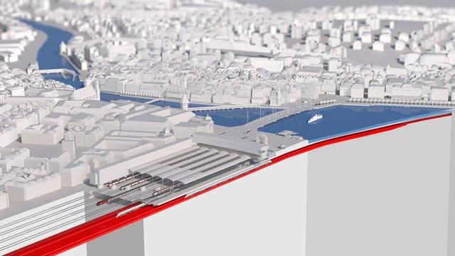 Visualisierung des unterirdischen Durchgangbahnhofs