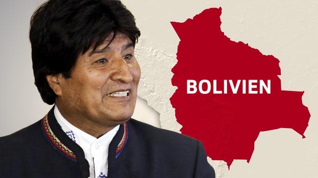 Evo Morales, im Hintergrund der Kartenumriss von Bolivien.