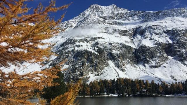 Frischverschneite Berglandschaft. Im Vordergrund ein Bergsee, im Hintergrund blauer Himmel.
