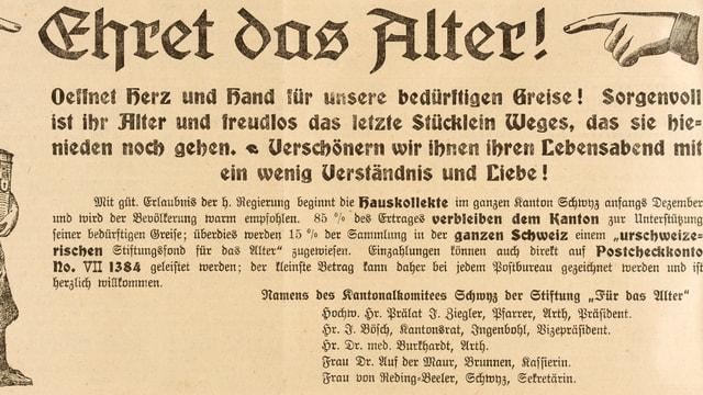 Mit diesem Inserat im «Bote der Urschweiz» sammelte die Pro Senectute 1919 Spenden für bedürftige Schwyzerinnen und Schwyzer.