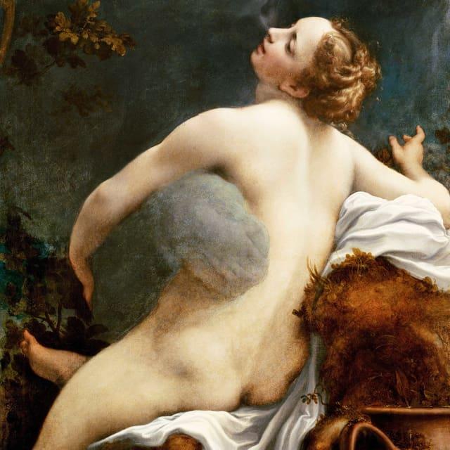 Nackte Frau wird von einer Rauchwolke umarmt.