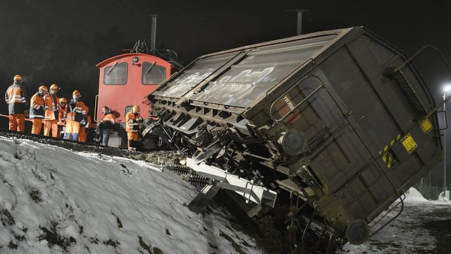 Der entgleiste Güterwagen bei Bassersdorf