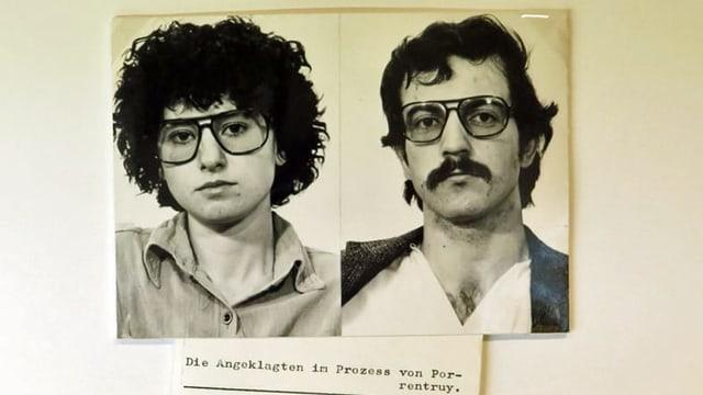 Zwei Schwarzweiss Bilder; darunter Legende: Die Angeklagten im Prozess von Porrentruy