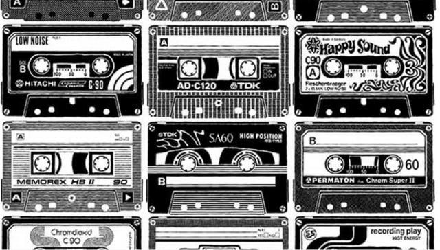 Bild mit verschiedenen Audio-Kassetten