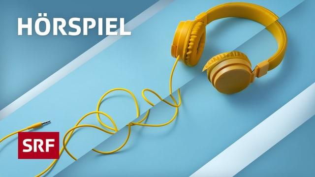Logo Hörspiel, Kopfhörer auf blauem Hintergrund
