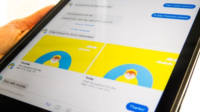 Screenshot von Konversation mit Chatbot Poncho