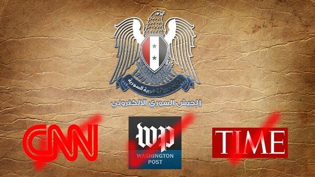 Screenshot einer Webseite die den Adler des syrischen Wappens zusammen mit den abgehakten Logos von CNN, der Washington Post und des Time-Magazins zeigt.
