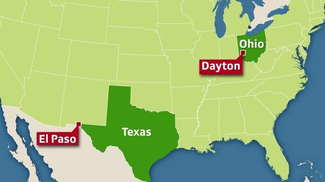 Karte der USA, wo die beiden Orte eingetragen sind.