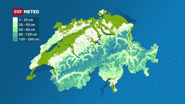 Die Schweizer Karte zeigt die Schneemengen in den Bergen.
