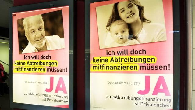 Plakte zur Abtreibungsfinanzierung.