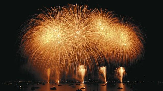 Silvester-Feuerwerk über dem Zürichsee