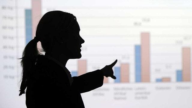 Eine Chefin steht vor einem Diagramm und zeigt streng darauf.