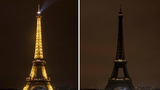 Eiffelturm in Doppelaufnahme: Mit und ohne Beleuchtung.