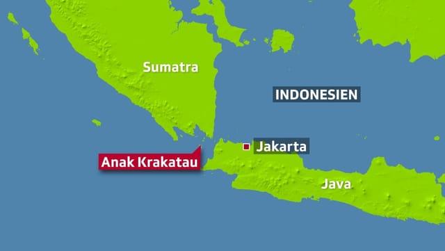 Karte mit der Lage des Vulkans im Meer, nordwestliche davon Sumatra, östlich Java mait der Hauptstadt Jakarte.