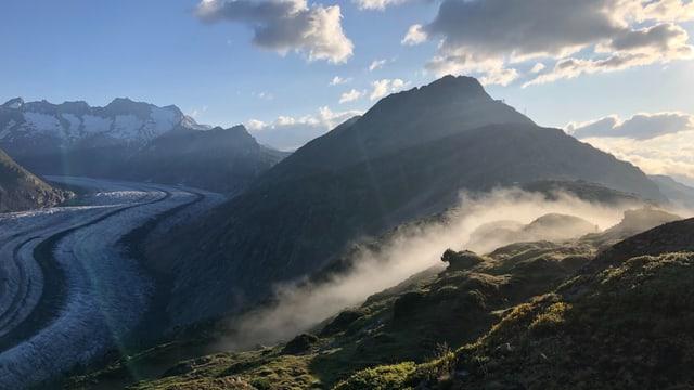 Morgenstimmung am Aletschgletscher.
