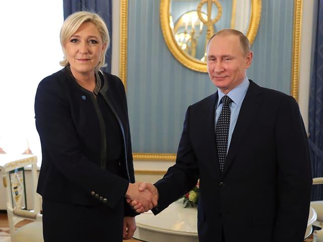 Kreml-Chef Putin und Marine Le Pen.
