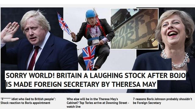 Fotomontage, die Boris Johnson in der Luft schwebend mit dem zwei Fähnchen zeigt.