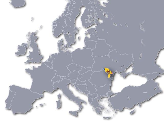 Landkarte von Europa, Moldawien ist speziell hervorgehoben.