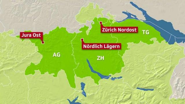 Eine Karte der Kantone Aargau, Zürich und Thurgau.