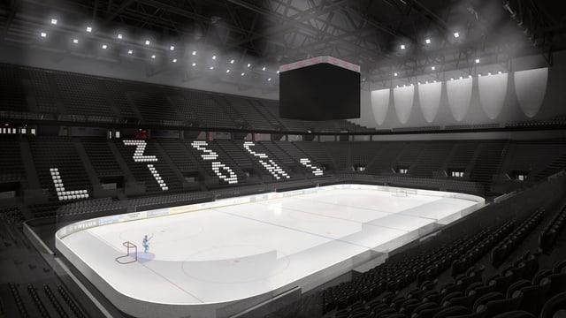 In der neuen Arena der ZSC Lions sollen fast 12'000 Zuschauer Platz finden, auf einer Tribünenseite steht der Schriftzug der ZSC Lions auf den Sitzplätzen.