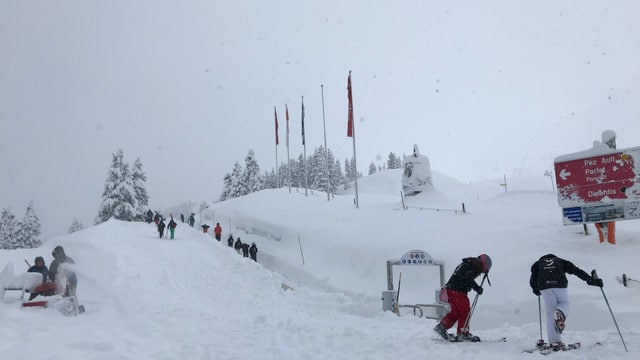 Skiunzs che van da tutta aura cun skis en il territori da skis da Mustér.