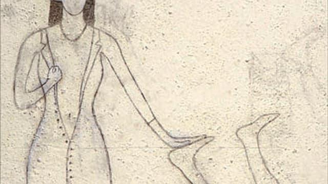Bleistiftzeichnung auf Mauer: Umriss Frau, die zweite Figur am Fuss berührt