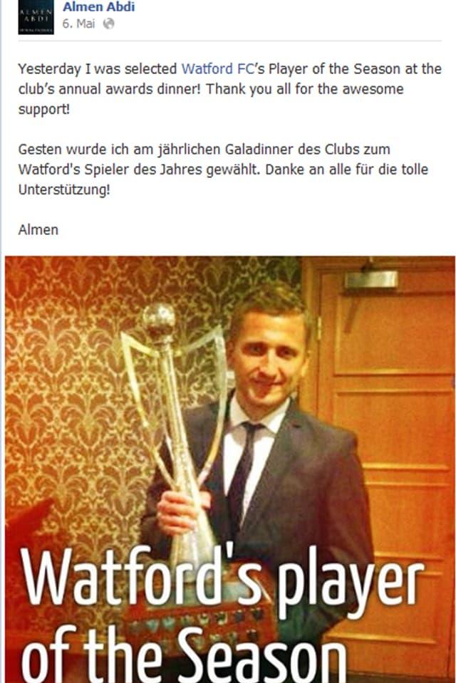 Abdis Facebook-Post nach der Wahl zu «Watford's player of the Season»