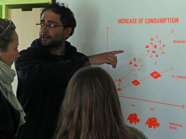 Ein Student erklärt zwei Besucherinnen ein System auf einem Plakat an der Wand.